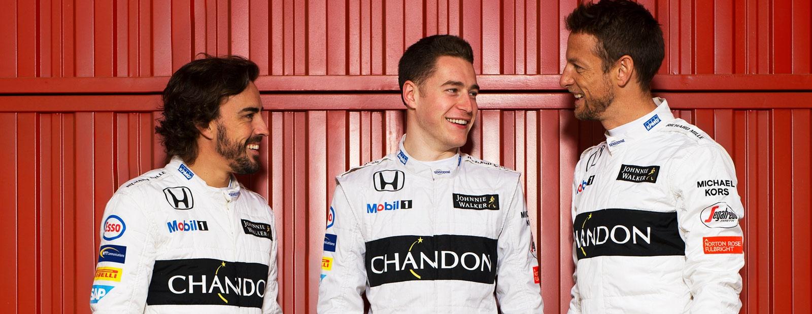 T-SHIRT McLaren Honda Team Members/' Formula One 1 F1 Vandoorne Alonso US