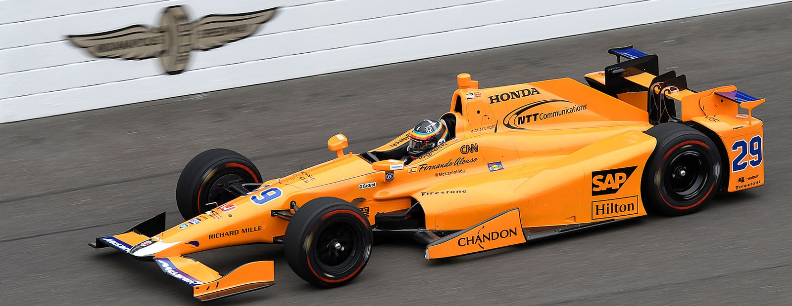 Fernando takes to the track with the McLaren-Honda-Andretti #29